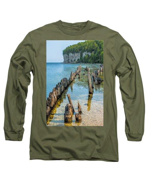 Pilings On Lake Michigan Long Sleeve T-Shirt