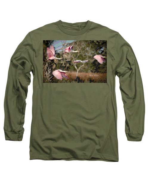 Pink And Feathers Long Sleeve T-Shirt