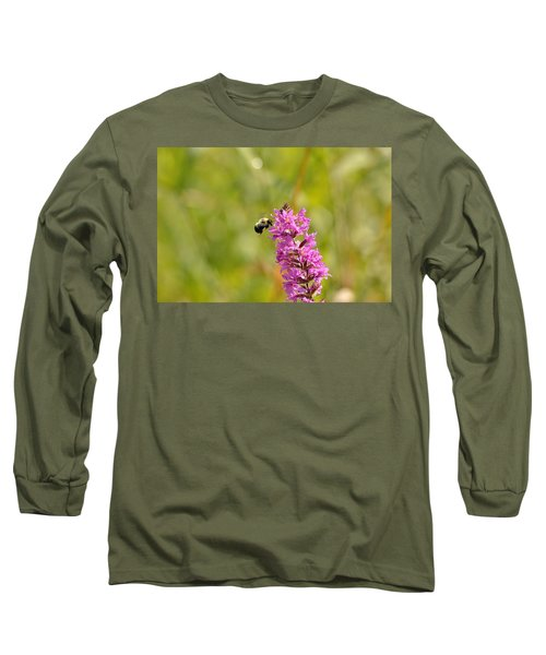 Pink And Gold Long Sleeve T-Shirt by David Porteus