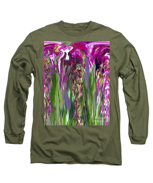 Pink And Green Floral Long Sleeve T-Shirt by Cedric Hampton