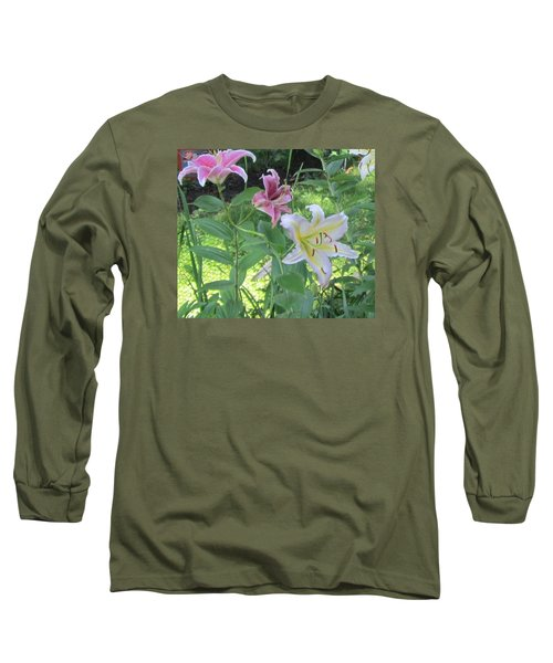 Pink And White Stargazer Lilies Long Sleeve T-Shirt