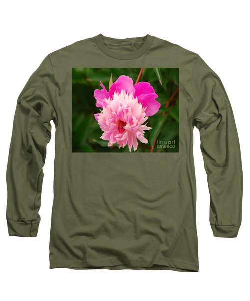 Pink Peony Long Sleeve T-Shirt by Mary Carol Story