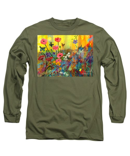 Long Sleeve T-Shirt featuring the painting Pink Poppies In Paradise by Robin Maria Pedrero