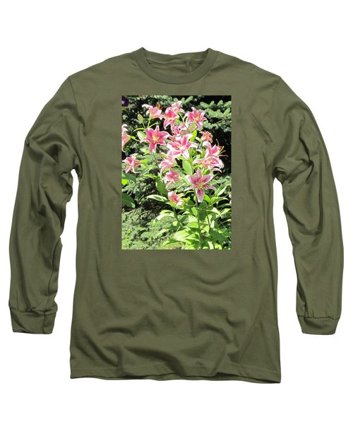 Pink Stargazer Lilies-greeting Card Long Sleeve T-Shirt