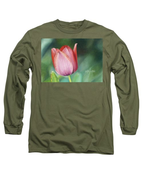Long Sleeve T-Shirt featuring the painting Pink Tulip by Joshua Martin