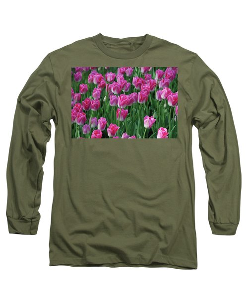 Long Sleeve T-Shirt featuring the photograph Pink Tulips 2 by Allen Beatty