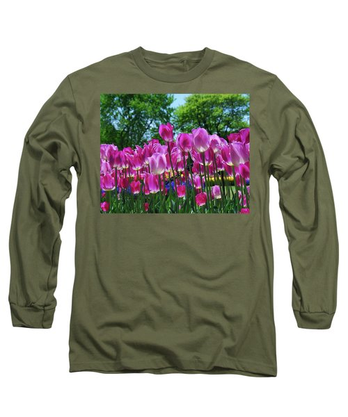 Long Sleeve T-Shirt featuring the photograph Pink Tulips by Allen Beatty