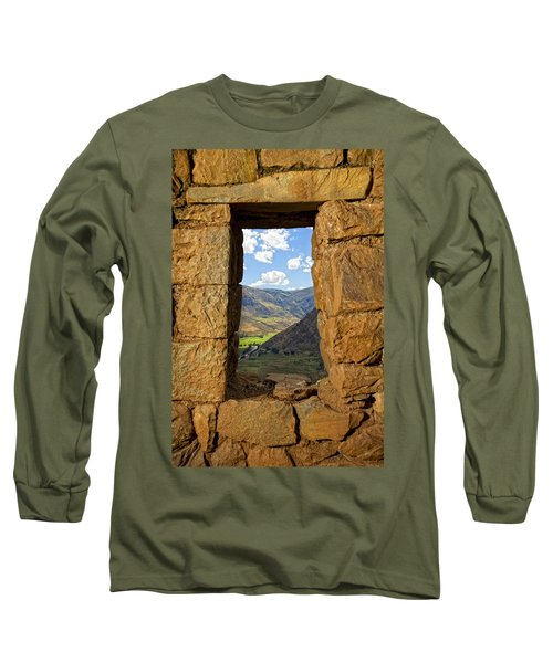 Pisac Ruins Long Sleeve T-Shirt by Alexey Stiop