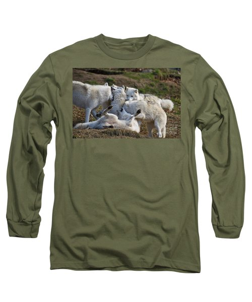 Long Sleeve T-Shirt featuring the photograph Playful Pack by Wolves Only