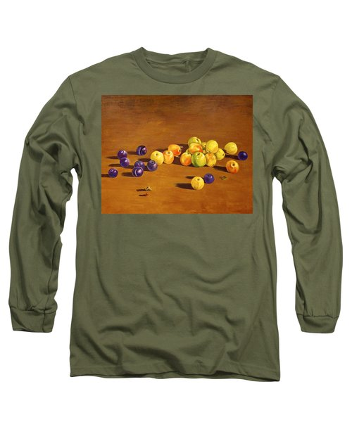 Plums And Apples Still Life Long Sleeve T-Shirt by Alexandra Maria Ethlyn Cheshire