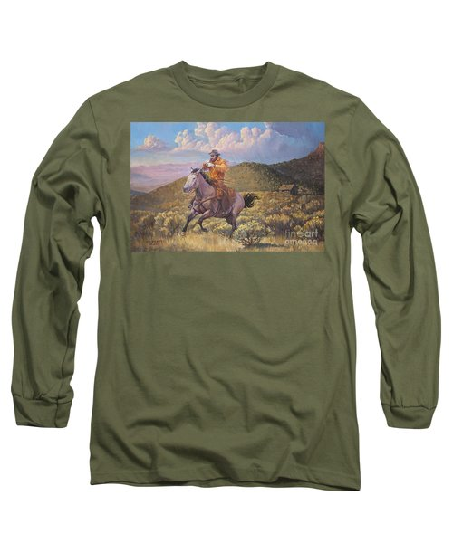 Pony Express Rider At Look Out Pass Long Sleeve T-Shirt