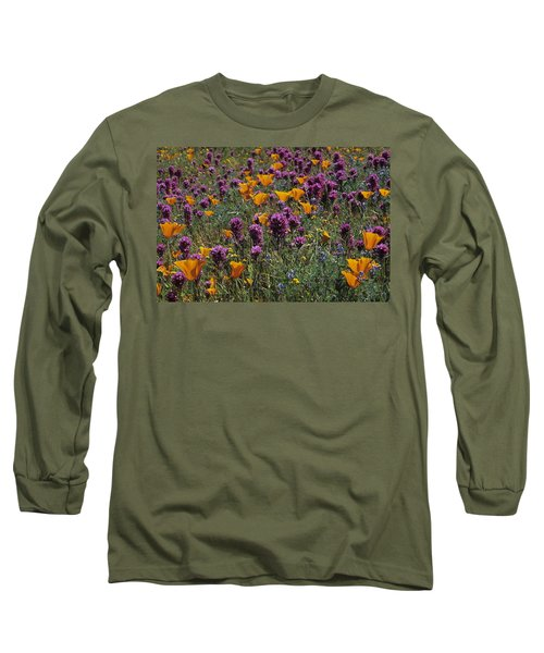 Poppies And Owl Clover Long Sleeve T-Shirt by Susan Rovira