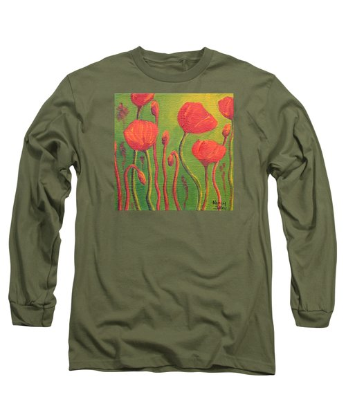 Long Sleeve T-Shirt featuring the painting Poppy Field by Nancy Jolley