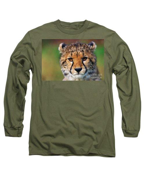 Portrait Of A Cheetah Cub Long Sleeve T-Shirt by Nick  Biemans