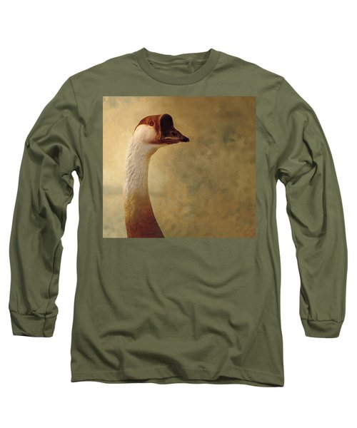 Portrait Of A Goose Long Sleeve T-Shirt by Fran Riley