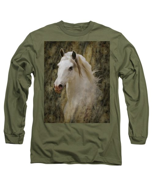 Portrait Of A Horse God Long Sleeve T-Shirt by Melinda Hughes-Berland