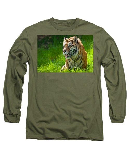 Portrait Of A Sumatran Tiger Long Sleeve T-Shirt by Jeff Goulden