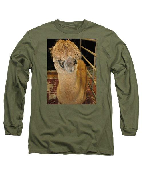 Portrait Of An Alpaca Long Sleeve T-Shirt by Connie Fox