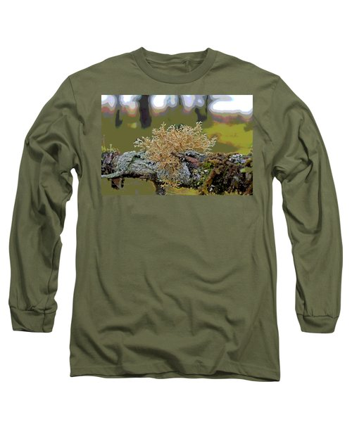 Posterized Antler Lichen Long Sleeve T-Shirt by Cathy Mahnke