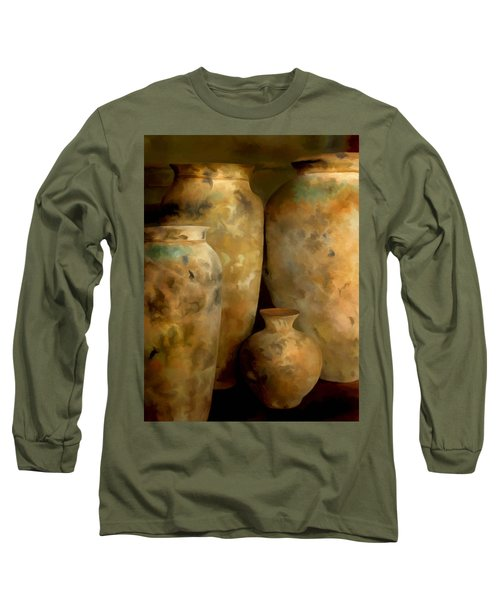 Long Sleeve T-Shirt featuring the painting Pots Of Time by Michael Pickett