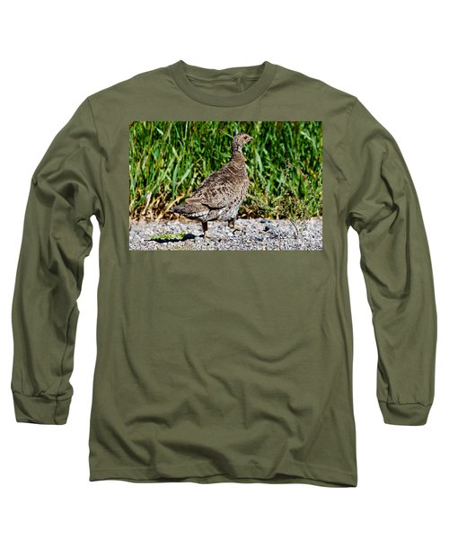 Long Sleeve T-Shirt featuring the photograph Prairie Chicken Run by Janice Rae Pariza
