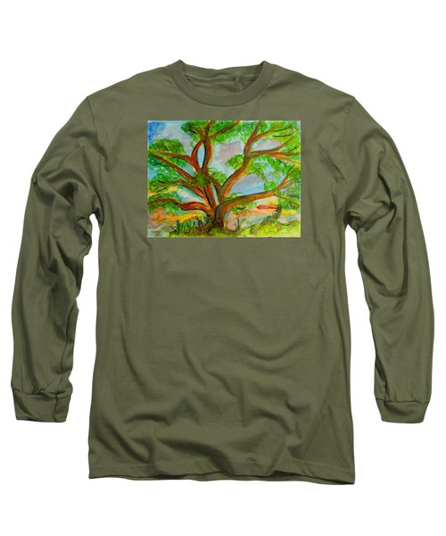 Prayer Mountain Tree Long Sleeve T-Shirt