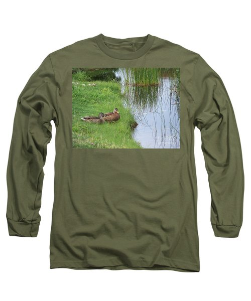 Long Sleeve T-Shirt featuring the photograph Mated Pair Of Ducks by Eunice Miller