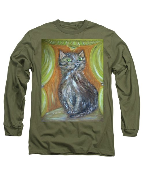 Long Sleeve T-Shirt featuring the painting Princess Kitty by Teresa White