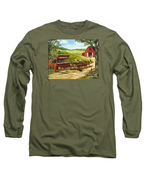 Long Sleeve T-Shirt featuring the painting Produce Stand by Lee Piper