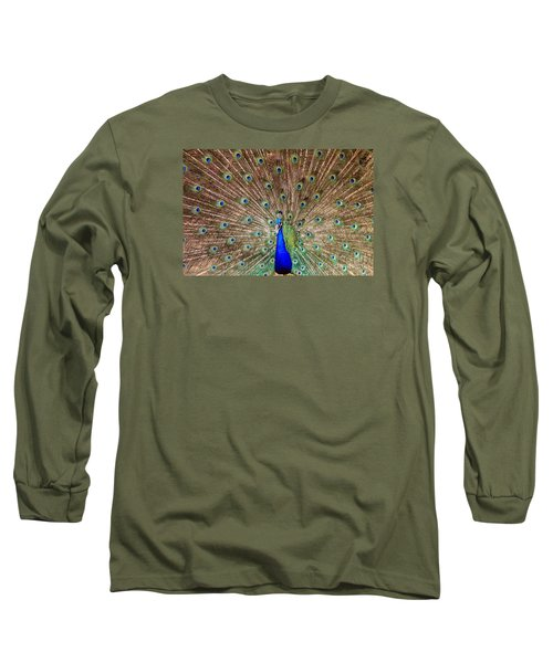 Long Sleeve T-Shirt featuring the photograph Proud Peacock by Geraldine DeBoer
