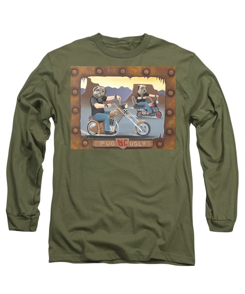 Pug Ugly M.c. Long Sleeve T-Shirt by Stuart Swartz