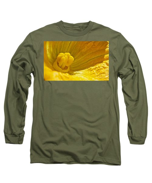 Long Sleeve T-Shirt featuring the photograph Pumpkin Blossom by Linda Bianic