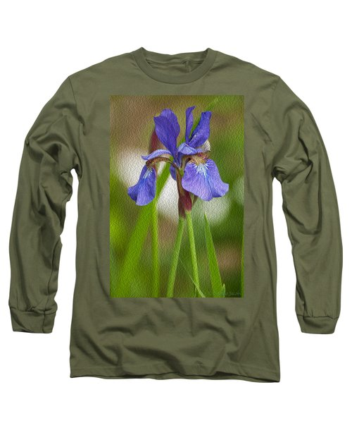 Purple Bearded Iris Oil Long Sleeve T-Shirt