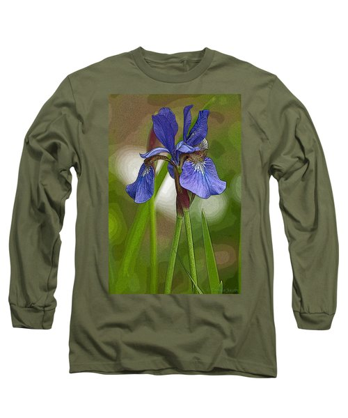Long Sleeve T-Shirt featuring the photograph Purple Bearded Iris Watercolor With Pen by Brenda Jacobs