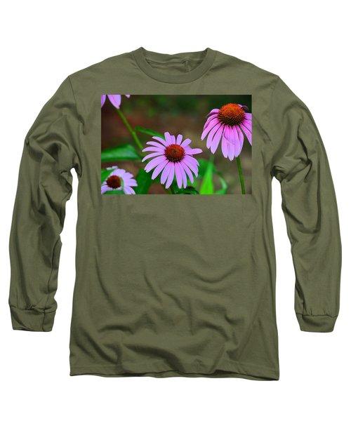 Purple Coneflower - Echinacea Long Sleeve T-Shirt by Kathy Eickenberg