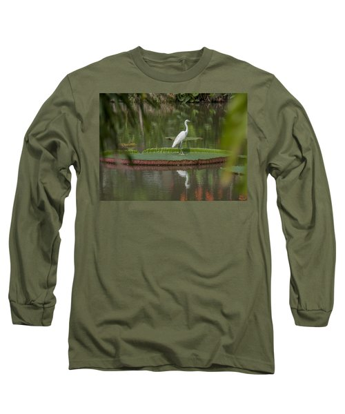 Queen Victoria Water Lily Pad With Little Egret Dthb1618 Long Sleeve T-Shirt