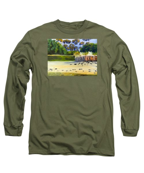 Long Sleeve T-Shirt featuring the painting Quiet Sand By The Creek by Pamela  Meredith