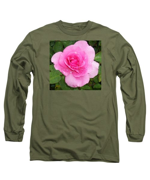 Rain Kissed Rose Long Sleeve T-Shirt by Catherine Gagne