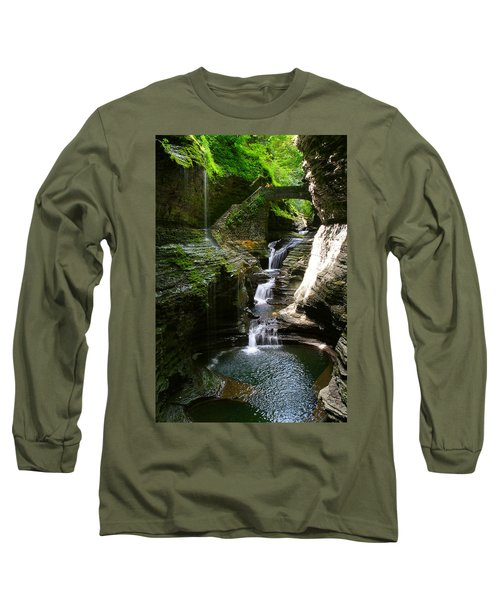 Rainbow Bridge And Falls Long Sleeve T-Shirt by Richard Engelbrecht