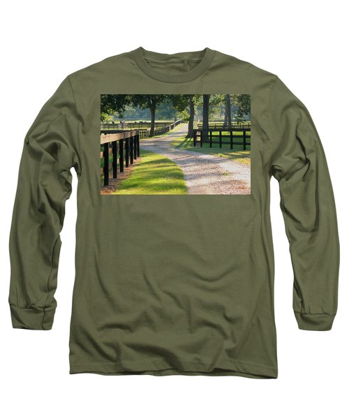 Long Sleeve T-Shirt featuring the photograph Ranch Road In Texas by Connie Fox