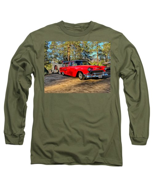 Long Sleeve T-Shirt featuring the painting Red '55 Chevy Wagon by Michael Pickett