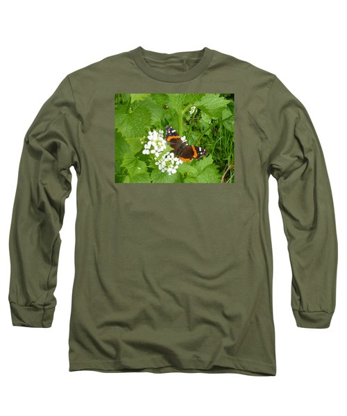 Long Sleeve T-Shirt featuring the photograph Red Admiral Butterfly by Lingfai Leung