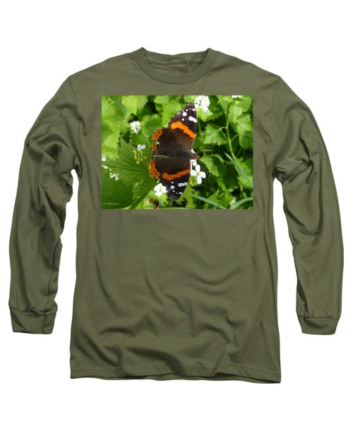 Long Sleeve T-Shirt featuring the photograph Red Admiral In Toronto by Lingfai Leung