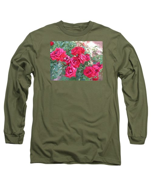 Long Sleeve T-Shirt featuring the photograph Red And Pink Roses by Chrisann Ellis