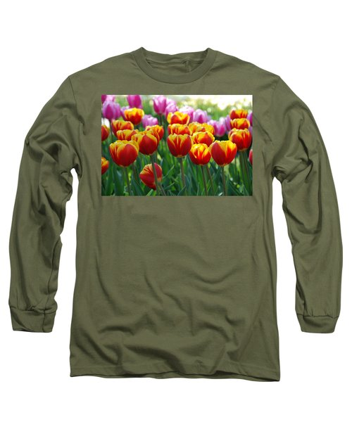 Long Sleeve T-Shirt featuring the photograph Red And Yellow Tulips  by Allen Beatty