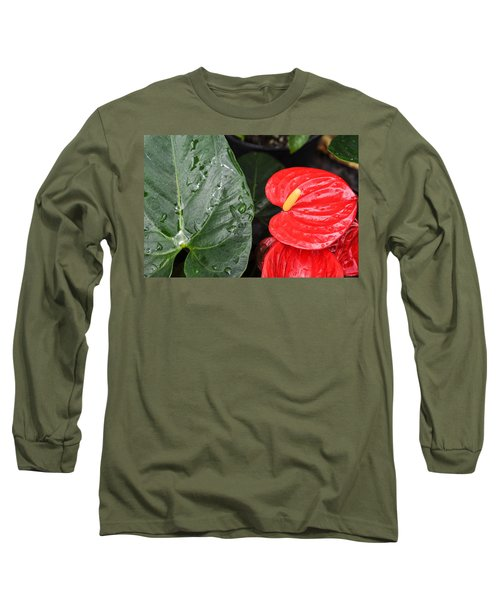 Red Anthurium Flower Long Sleeve T-Shirt