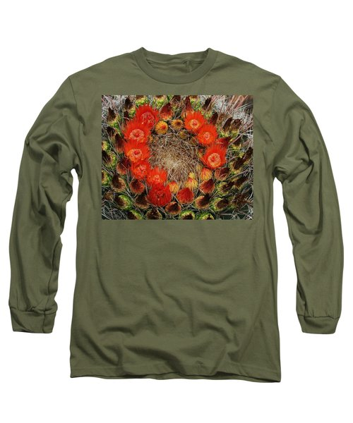 Red Barell Cactus Flowers Long Sleeve T-Shirt by Tom Janca