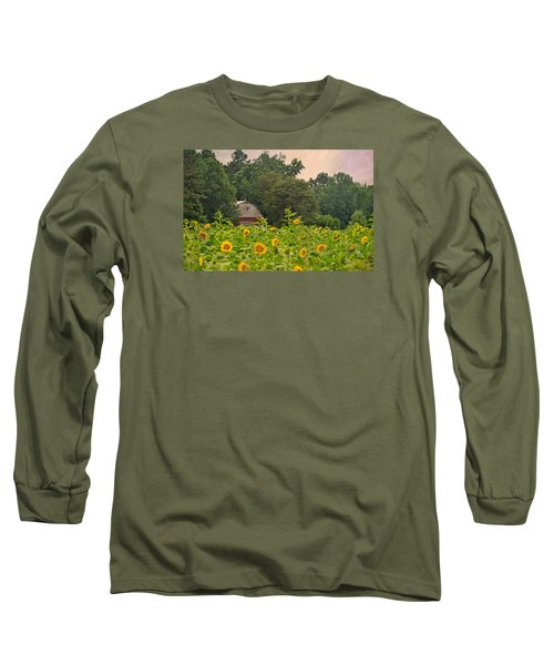 Red Barn Among The Sunflowers Long Sleeve T-Shirt by Sandi OReilly