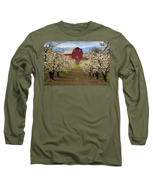 Red Barn Spring Long Sleeve T-Shirt by Mike  Dawson