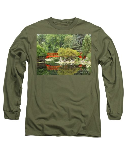 Red Bridge Reflection In A Pond Long Sleeve T-Shirt